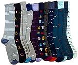 12 Pairs of Sockbin Mens Dress Socks, Colorful Patterned Fashion Dress Socks