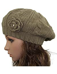 minakolife Women Crochet Braided Knit Flower Beret Baggy Beanie Ski Cap Hat