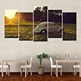 Canvas Art Wall Pictures Home Decor Frame Living Room HD Print 5 Pieces Volkswagen Beetle Car Painting Sunset Lawn Forest Poster,30x60cmx4 30x80cmx1,Frame