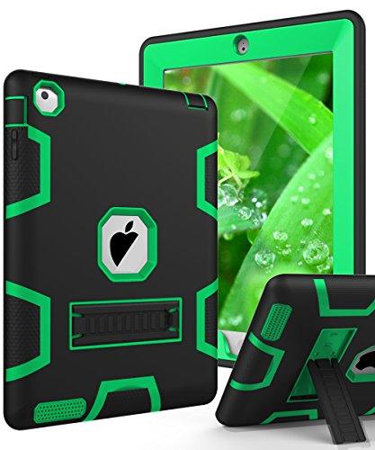TIANLI(TM) ArmorBox [Three Layer] Convertible [Heavy Duty] Full-Body Rugged Hybrid Protective With KickStand Case For iPad 2 iPad 3 iPad 4 - Black Green