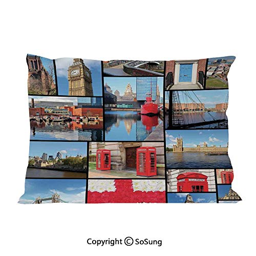 SoSung England Bed Pillow Case/Shams Set of 2,England City Red Telephone Booth Clock Tower Bridge River British Flag with Flowers King Size Without Insert (2 Pack Pillowcase 36