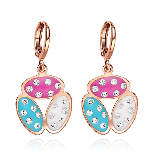 Cute Lucky Beans Sky Blue White Pink Fun Colors and Sparkling Crystals Gold-Tone Fashion Eardrop Earrings