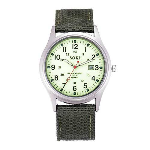 Men's Stainless Steel Quartz Watch Military Army Canvas Band Sport Watch Simple Automatic Waterproof Casual Watch