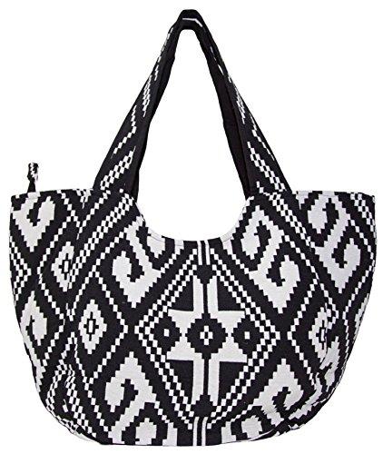 Carolina Sweethearts Woven Black and White Aztec Medium Fashion Tote Bag With Zipper Closure