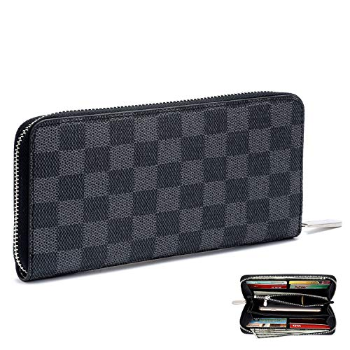 Women's Checkered Zip Around Long Wallet and Phone Clutch - RFID Blocking with Card Holder(Black)