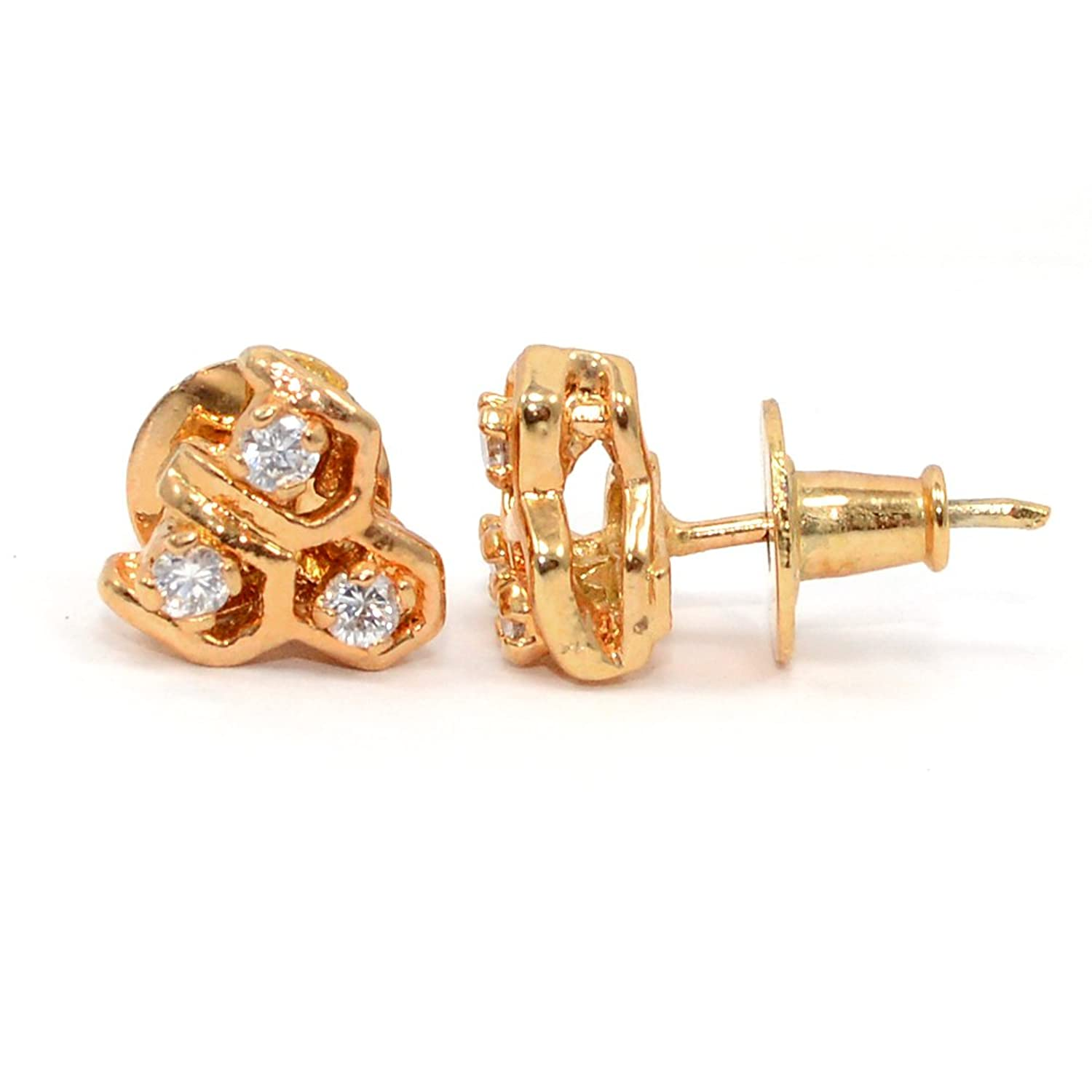 Silvestoo India Cubic Zircon Gold Plated Earring PG Amazon