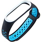 XIHAMA For Xiaomi Mi Band 4 / Mi Band 3 ブレスレット 腕時計バンド 交換ベルト ツートンカラー シリコン製 スポーツバンド 10色あり (黒青)