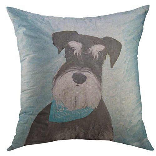 (Mugod Decorative Throw Pillow Cover Black Standard Schnauzer Miniature Painting Cute Dog Silver Home Decor Pillow case 18x18 Inch)