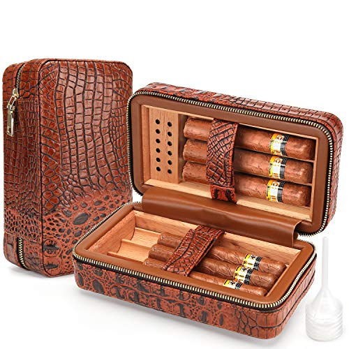 $59.90 cuban crafters humidor Cigar Humidor Case Cedar Wood Portable Lined Genuine Leather Case with Humidifier, Travel Humidor Crocodile Leather Case for 6 Cigars 2019