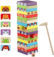 Wondertoys 54 Pieces Colorful Stacking Game Wooden Building Blocks Set - Animal Wooden Blocks Tower Board Game