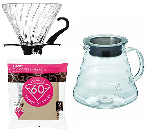 Hario V60 Series 600 ml Glass Kettle, Glass Dripper with Measuring Spoon & 100 Paper Filters Sold Together