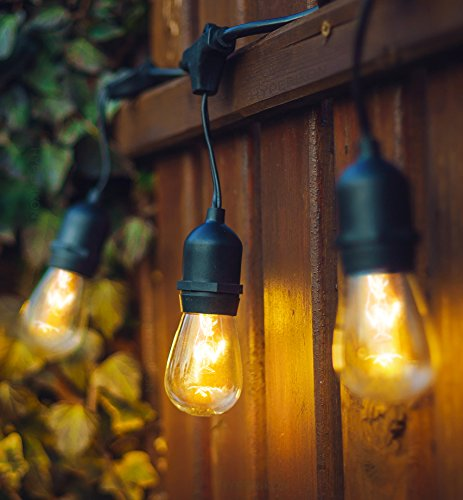 - Hyperikon Outdoor String Lights, 24ft Patio Lights with 10 Dropped Sockets, 10 x 11W S14 Bulbs included - Vintage Dimmable Edison String Lights Great for Outdoors, Café, Yard, Garden, Wedding
