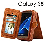 Dreams Mall(TM)Samsung Galaxy S5,3 in 1 Premium PU Leather Wallet Purse Case Protection with Stand Flip Cover & Strap & Mirror