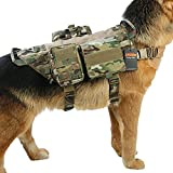 Graycell Tactical Dog Molle Vest with Pouches Military Harness for Service K9 Dogs (MCP, XL)