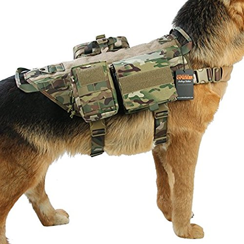 Graycell Tactical Dog Molle Vest with Pouches Military Harness for Service K9 Dogs (MCP, XL) by Graycell