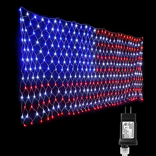 Lyhope Independence Day's Light Set, 390 LED American Flag Decorative Net Lights 6.56ft x 3.28ft Low Voltage Patriotic String Lights for Christmas, Garden, Indoor, Outdoor Decor(Red,White,Blue)