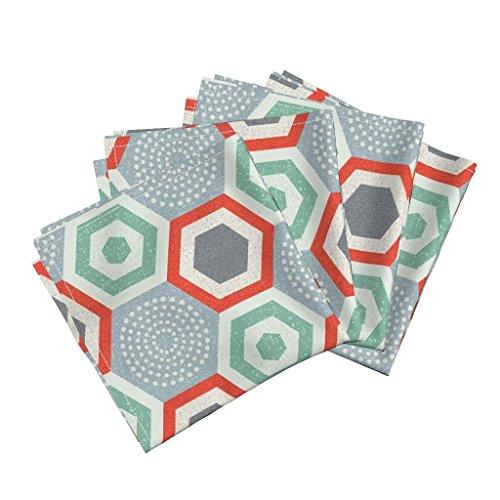 60s Linen (Hexagons Geometric Red And Green Dots Mcm 60S Linen Cotton Dinner Napkins Hexagon 4B-Mid Century Modern by Ottomanbrim Set of 4 Dinner Napkins)