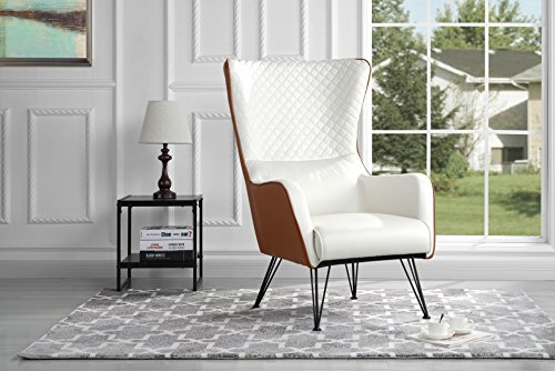 Mid-Century Modern Faux Leather Accent Armchair with Shelter Style Living Room...