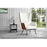 Mid-Century Modern Faux Leather Accent Armchair with Shelter Style Living Room Chair (Camel/White)