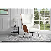 Mid-Century Modern Faux Leather Accent Armchair with Shelter Style Living Room Chair (Camel / White)