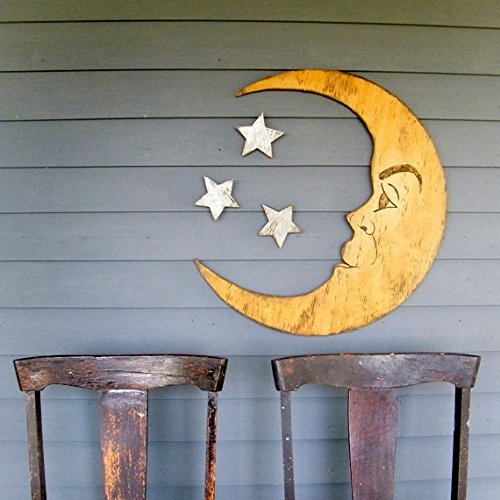 Crescent Moon and 3 Piece Silver Stars (Set of 3) Wooden Handcrafted by Slippin Southern