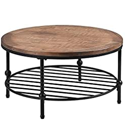 Farmhouse Coffee Tables Taghua Rustic Natural Round Coffee Table, Tea Table with Storage Shelf Cocktail Table for Living Room Home Decor, Easy… farmhouse coffee tables
