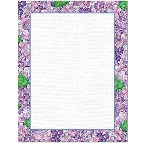 Purple Hydrangeas Letterhead Laser & Inkjet Printer Paper (100 Pack)