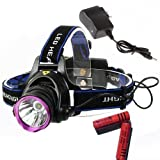 WindFire 2000 Lumens CREE XM-L T6 U2 LED 3 Modes Design Outdoor Sport Headlamp 18650 Rechargeable Battery Head Light Torch Flashlight with Charger for Outdoor Hiking, Riding, Camping, Climbing etc..