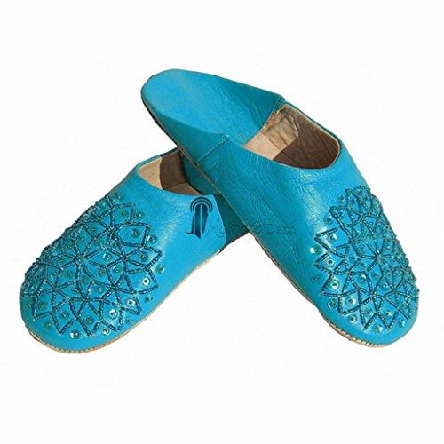 Babouche paillettes brodées, babouche Femme modele Galia turquoise, babouches a bout rond cousues main, chaussons en cuir verit