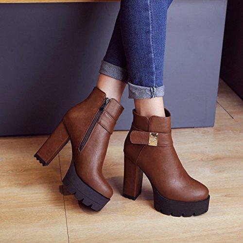 Botas de las mujeres de otoño y de invierno British Martin botas de ultra-tacón alto con botas de las mujeres ocasionales brown