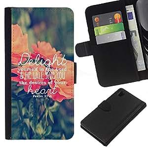 KLONGSHOP // Tirón de la caja Cartera de cuero con ranuras para tarjetas - deleita amor texto dios melocotón verde primavera - Sony Xperia Z1 L39 //