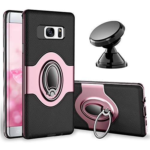 Samsung Galaxy S7 Edge Case - eSamcore Ring Holder Kickstand Cases + Dashboard Magnetic Phone Car Mount [Rose Gold]