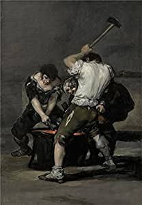 Perfect effect Canvas ,the High quality Art Decorative Canvas Prints of oil painting 'Francisco de Goya y Lucientes - The Forge, c. 1815-20', 20x29 inch / 51x73 cm is best for Kitchen decor and Home artwork and Gifts