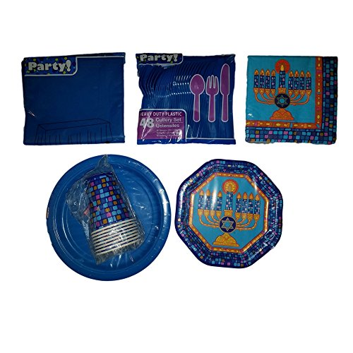 Decorate Your Home, Classroom or Event with this Hanukkah Celebration Bundle, Cups, Table Cloth, Napkins, Utensils, Plates