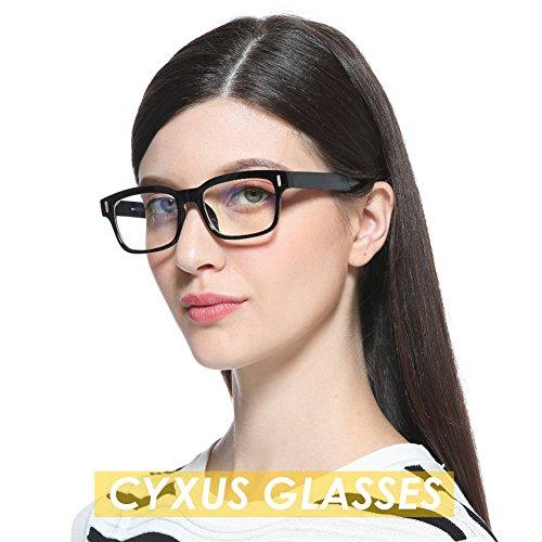 86e26e5a6d Delicado Cyxus lentes transparentes vidrios ordinarios, Moda Unisexo Gafas  ligeras cómodas (Marco negro clásico