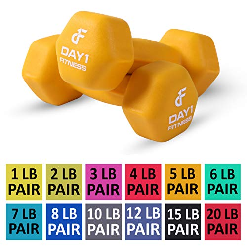 (Day 1 Fitness Neoprene Dumbbell Pairs 5 Pounds - Non-Slip, Hexagon Shape, Color Coded, Easy to Read Hand Weights for Muscle Toning, Strength Building, Weight Loss )