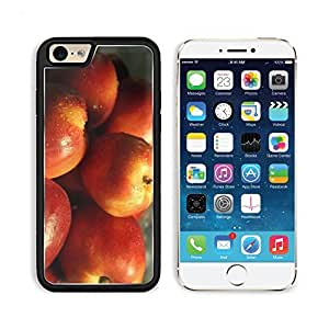 Red Fruits Food Water Drops Nectarines Apple iPhone 6 TPU Snap Cover Premium Aluminium Design Back Plate Case Customized Made to Order Support Ready Liil iPhone_6 Professional Case Touch Accessories Graphic Covers Designed Model Sleeve HD Template Wallpap