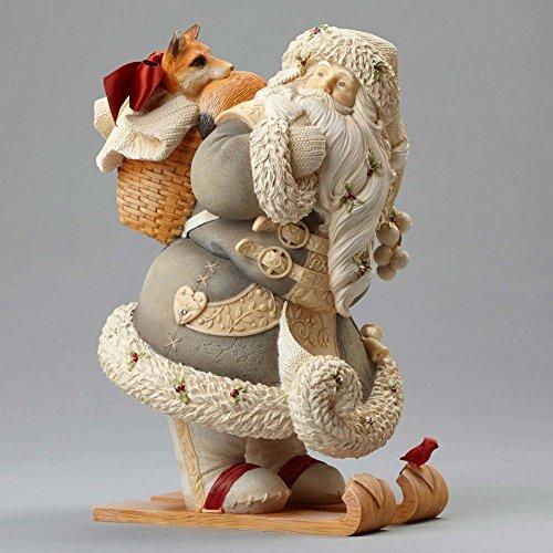 "Enesco Department 56 Heart of Christmas ""Santa with Fox"" Stone Resin Figurine, 8.07"" (Heart Precious Stone)"