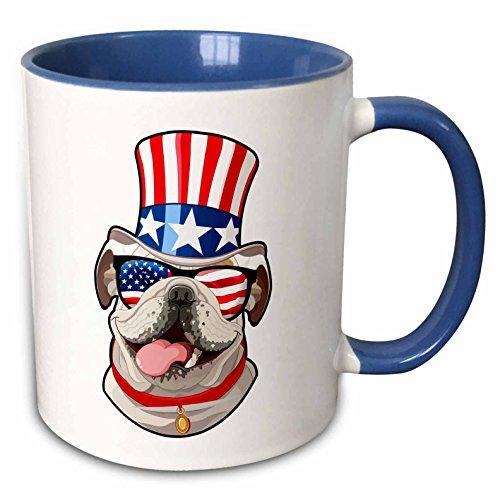3dRose Patriotic American Dogs - English Bulldog Dog With American Flag Sunglasses and Top hat - 11oz Two-Tone Blue Mug (mug_282713_6)