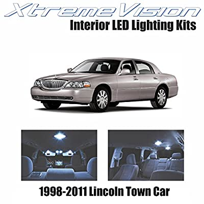 Xtremevision Interior LED for Lincoln Town Car 1998-2011 (10 Pieces) Cool White Interior LED Kit + Installation Tool: Automotive