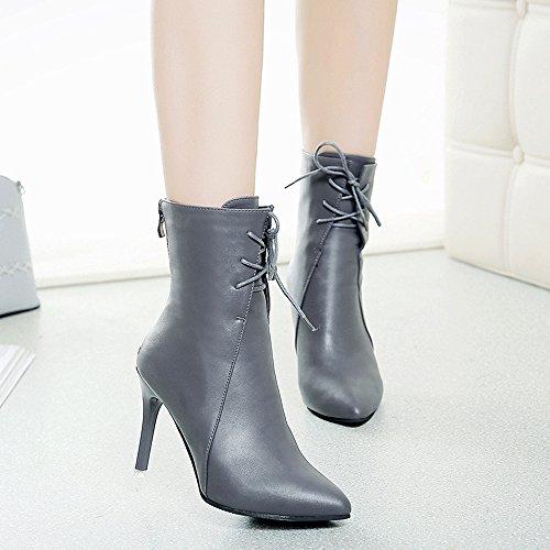 Zapatos Mujeres BUIMIN - Botas Mujeres Punta Puntiaguda Cremallera Transpirable Tacón Alto Fiesta Boda Novedad Moda Color Negro/Gris/Rosa Oscuro Talla 35/36/37/38/39 gris