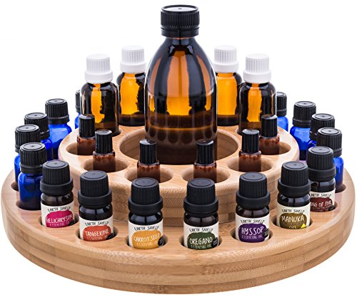 Essential Oil Wooden Storage Carousel | Premium Container Case Organizer Box Tray for Assortments and Blends - Perfectly Holds 10ml, 15ml, 30ml, 1/3oz, 1/2oz, 1oz, Roller Bottles for Mineral, Anxiety (Carousel Storage Organizer)