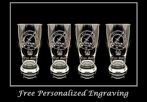 Clan Gunn Scottish Crest Pint Glass Set of 4 - Free Personalized Engraving, Family Crest, Pub Glass, Beer Glass, Custom Beer Glass - Highlander Beer