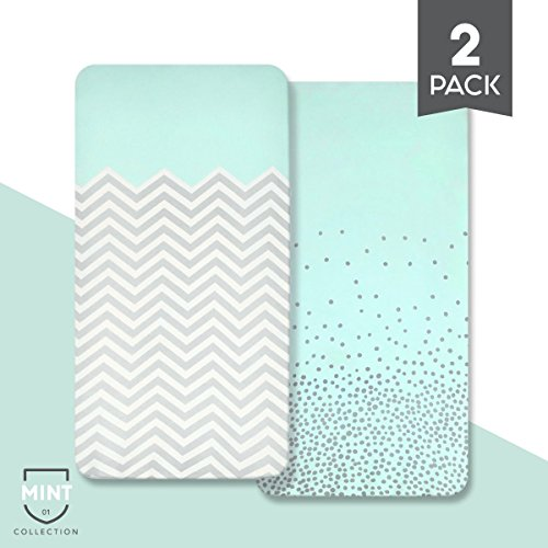 "Organic Cotton Crib Sheet Set: Standard Full Crib Mattress Sheets - Fitted Baby Bed Sheets - Soft & Breathable Unisex Nursery Bedding for Infants & Toddlers - 52"" x 28"" x 9"" - Mint - 2 Pack Sets"