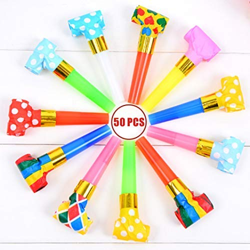 Musical Blow Outs, Party Horns Noisemakers Blowouts Whistles for Birthdays, New Year, and other Celebrations Party 50 PCS -
