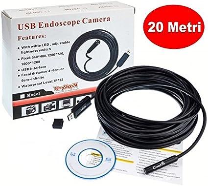 ENDOSCOPIO TELECAMERA SONDA USB PER PC 20 Metri Mt ENDOSCOPICA ISPEZIONE
