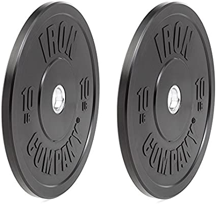 10 LB Rubber Bumper Plates Black Olympic Weight Lifting CrossFit Weights Pair