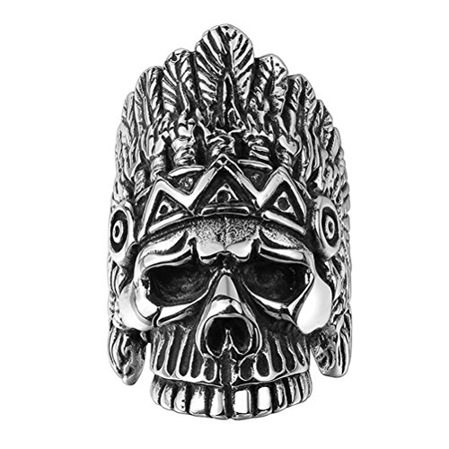 PAURO Men's 316l Stainless Steel Indian Skull Biker Ring with Feather Silver Black Vintage Gothic Size (Indian Chief Headdress For Sale)