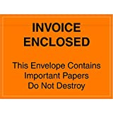 Aviditi PL416 Poly Envelope, Legend''INVOICE ENCLOSED - This Envelope Contains Important Papers Do Not Destroy'', 4-1/2'' Length x 6'' Width, 2 mil Thick, Black on Orange (Case of 1000)