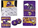 "Northwest NFL Minnesota Vikings ""Monument"" Twin Sheet Set with 1 Blanket, 1 Throw, 1 Rug, and 2 Cloud Pillows"